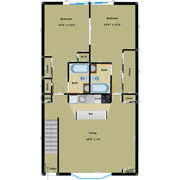 2 bedroom 2 bathroom floor plan of Gateway apartments in Henrico, VA